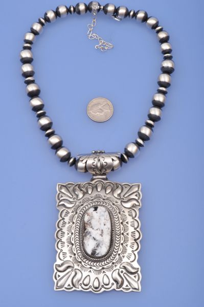 Very large Navajo white buffalo pendant, by Lorenzo James.