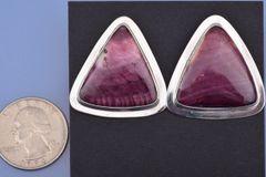 Purple spiney-oyster Navajo earrings by Adam Cadman.