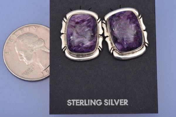 Navajo-made Chariot rectangular earrings