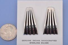 Navajo sterling-only earrings by Tom Hawk, Navajo