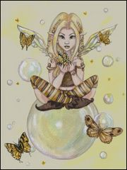 Gold Fairy with Bubbles