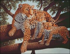 African Leopard and Cubs