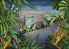 Two Blue Frogs at Sunset