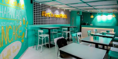 lets souffle, interior design, koramangala, bangalore, cafe, pancake shop, interiors, architecture
