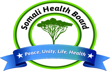 "Somali Health Board Logo - Green tree with banner saying ""Peace, Unity, Life, and Health"""