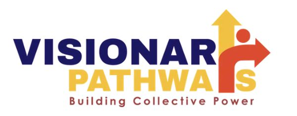 "Visionary Pathways Logo - Blue, Yellow, and red letters with tagline - ""Building Collective Power"""