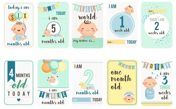 Baby Boy Milestones Card