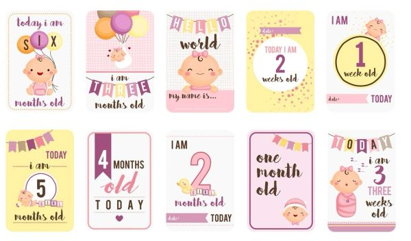 Baby Girl Milestones Card