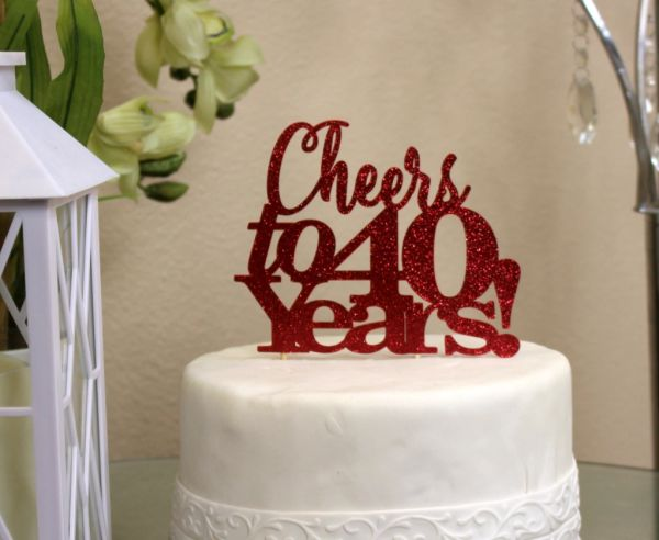 Excellent All About Details Red Cheers To 40 Years Cake Topper All About Funny Birthday Cards Online Kookostrdamsfinfo