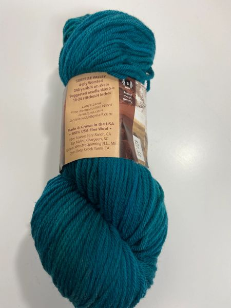 Surprise Valley Peacock Worsted Weight Fine Rambouillet Wool Yarn