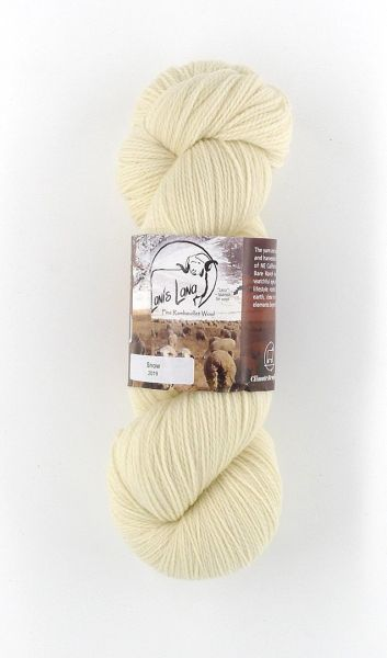High Desert Snow Fingering Weight Natural Rambouillet Wool Yarn