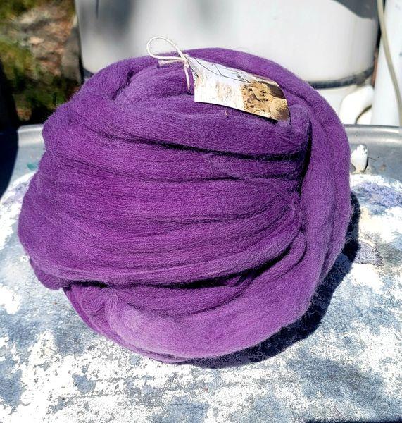Combed Top - Logwood - Rambouillet Wool Roving 4 oz bumblebee