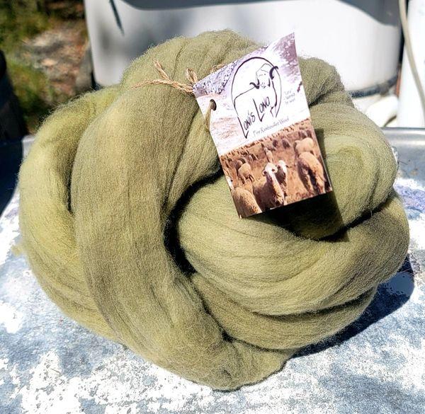 Combed Top - Black-eyed Susan- Rambouillet Wool Roving 4 oz bump