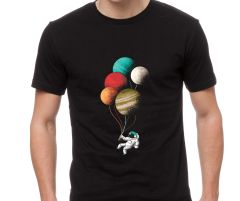 Astronaut with planet balloons