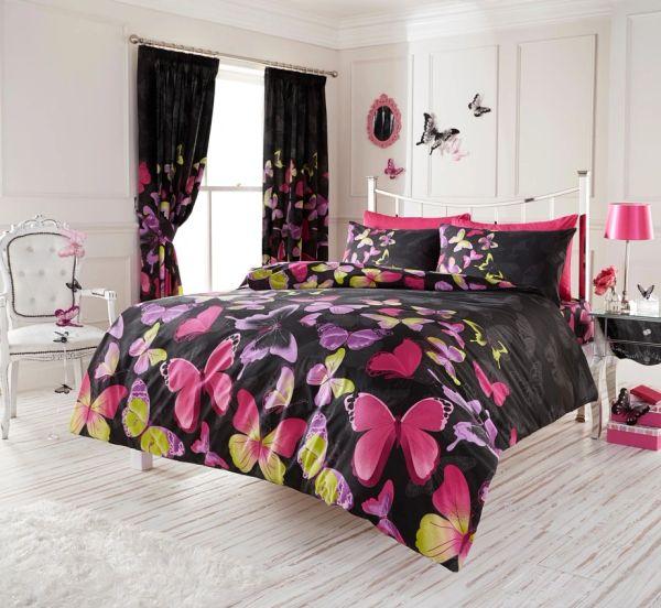 Fashion Butterfly black cotton blend duvet cover