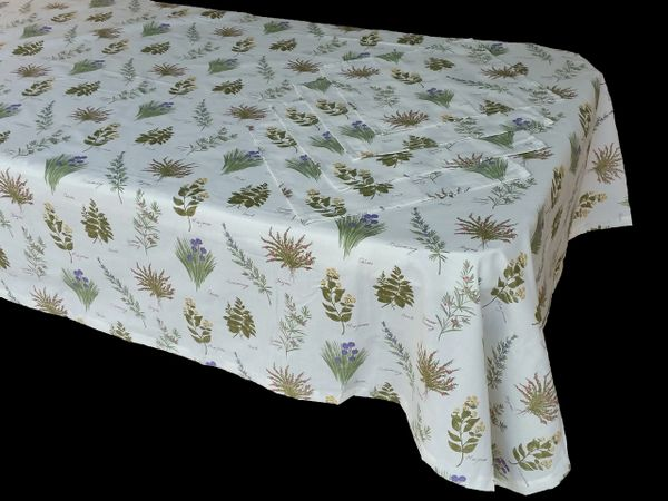 Herbs white & green rectangle table cloth & napkin set