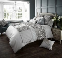 Verina silver cotton blend duvet cover