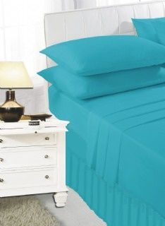 Teal frilled valance sheet