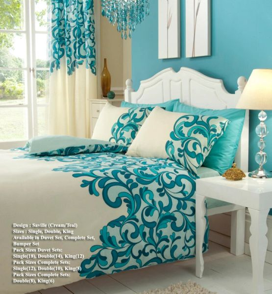 Saville teal super king duvet cover