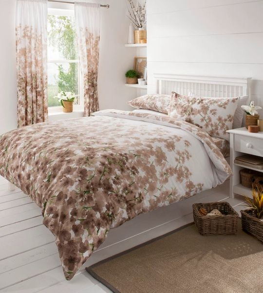 Blossom brown double duvet cover