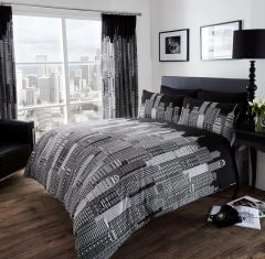 Skyline black & white cotton blend duvet cover