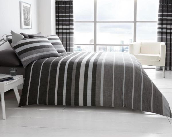 Block Stripes grey duvet cover