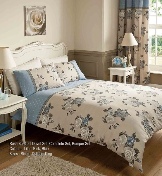 Rose Bouquet blue super king duvet cover