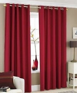 Faux silk red eyelet curtains