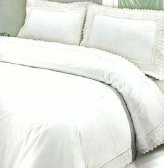 White Egyptian cotton lace edge duvet cover