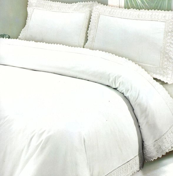 White Egyptian cotton lace edge duvet cover
