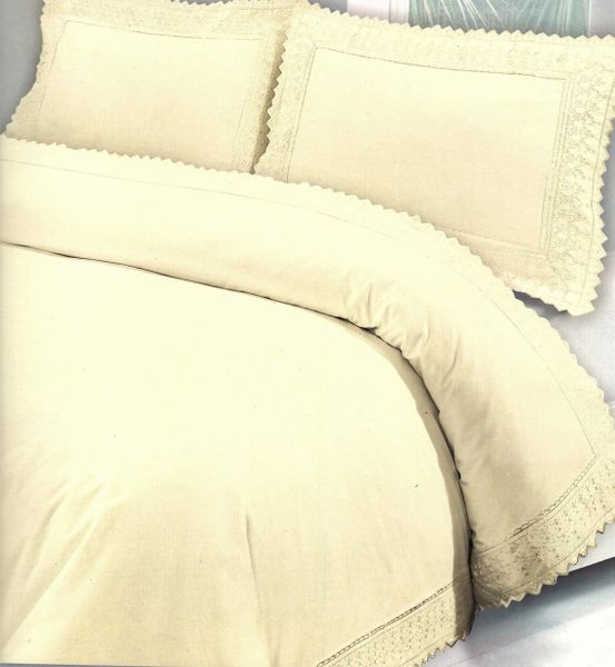 Cream Egyptian cotton lace edge duvet cover