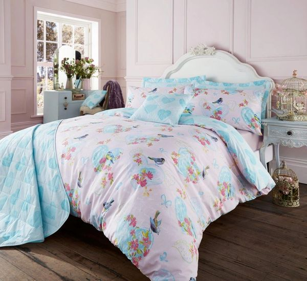 Love Bird pink super king duvet cover