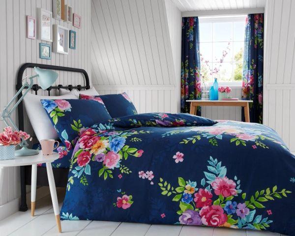 Alice dark blue cotton blend duvet cover