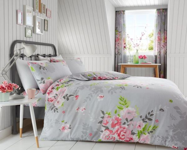 Alice grey & pink duvet cover