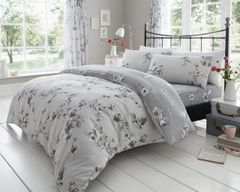 Birdie Blossom grey cotton blend duvet cover