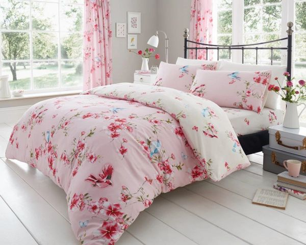 Birdie Blossom pink cotton blend duvet cover