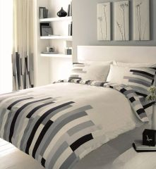 Blocks grey & cream cotton blend duvet cover