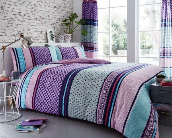 Charter Stripe berry cotton blend duvet cover