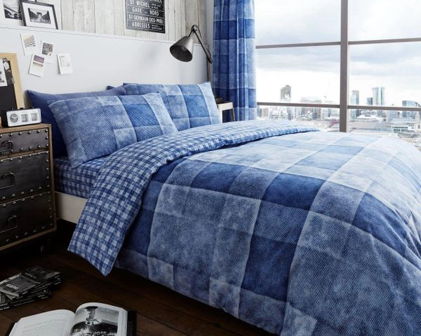 Denim Check blue cotton blend duvet cover