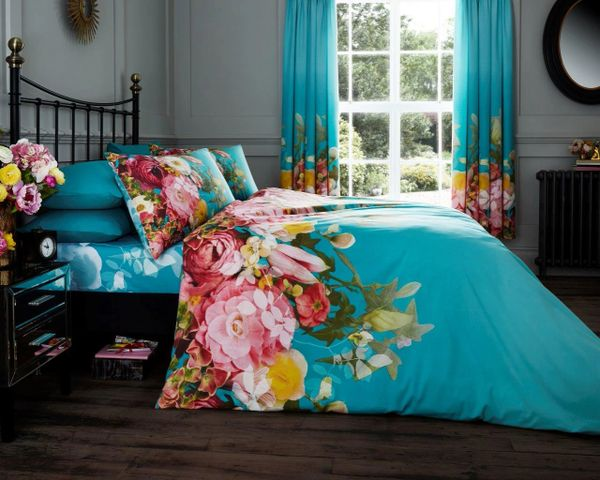 Faded Floral turquoise duvet cover