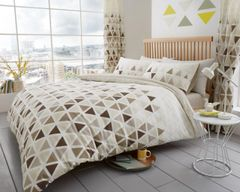 Geo Triangle natural cotton blend duvet cover