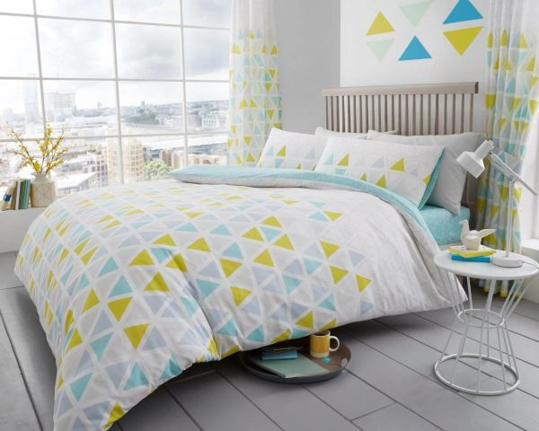 Geo Triangle teal cotton blend duvet cover