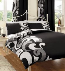 Grandeur black cotton blend duvet cover