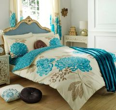 Kew cream & teal cotton blend duvet cover