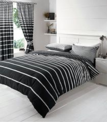 Linear black & white duvet cover