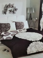 Manhatten black & cream cotton blend duvet cover