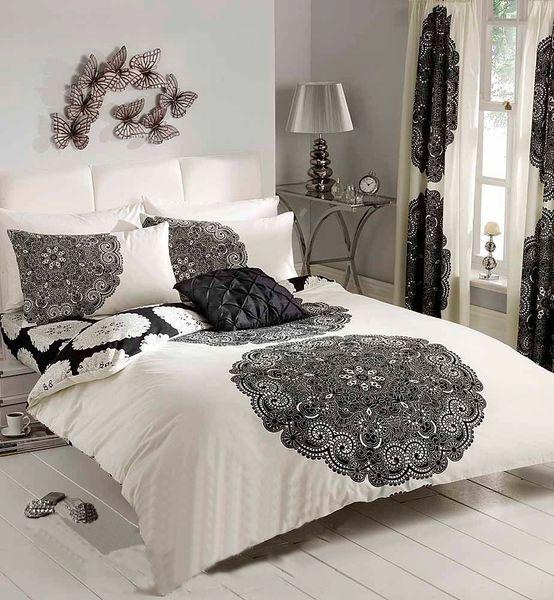 Manhatten cream & black cotton blend duvet cover