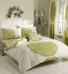 Manhatten cream & green cotton blend duvet cover