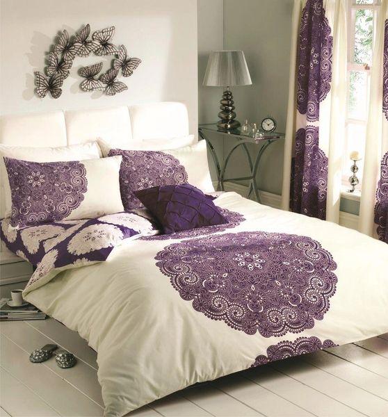 Manhatten cream & aubergine cotton blend duvet cover