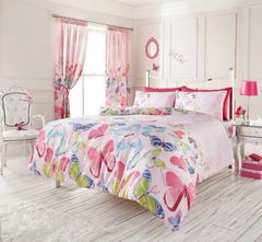 Fashion Butterfly pink cotton blend duvet cover